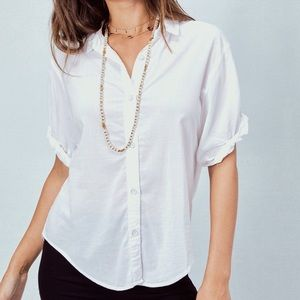 Lovestitch white short sleeve, buttondown shirt, M